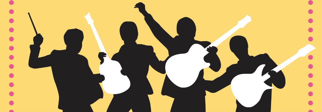 yellow background, black silhouettes holding white instruments