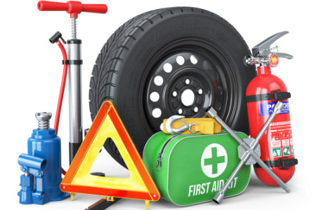 An assortment of vehicle supplies over a white background