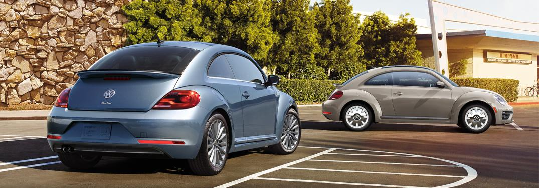 Two 2019 Volkswagen Beetle models parked in a lot