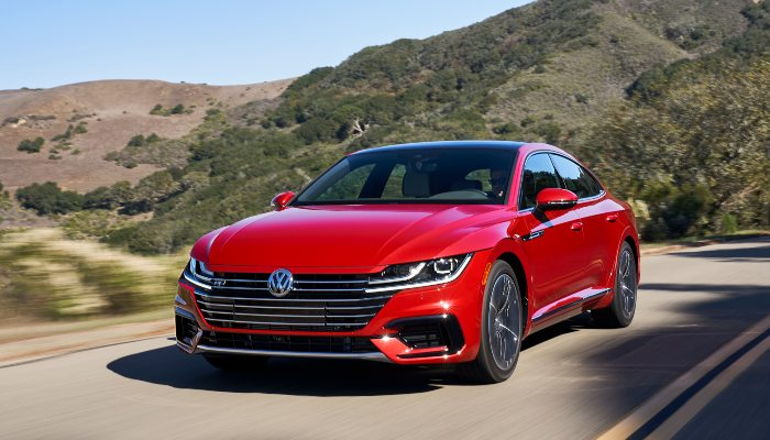 2019 Volkswagen Arteon driving down a mountain road