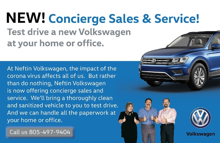 """An image of the Concierge Sales & Service announcement with the heading of """"New! Concierge Sales & Service! Test drive a new Volkswagen at your home or office."""""""