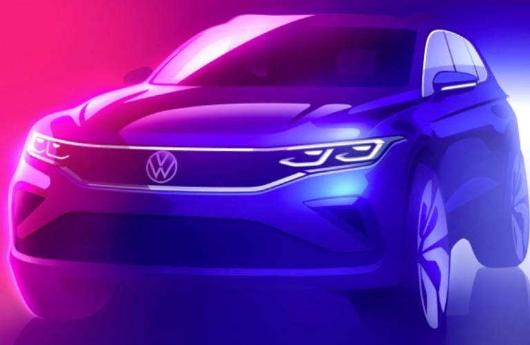 The sketch released of the 2021 Volkswagen Tiguan, drawn with bright pink and blue colors.