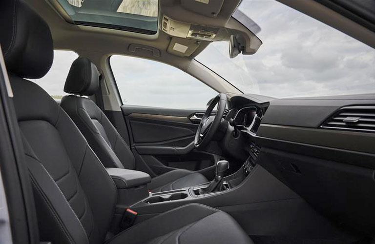 The front interior inside a 2020 Volkswagen Jetta.