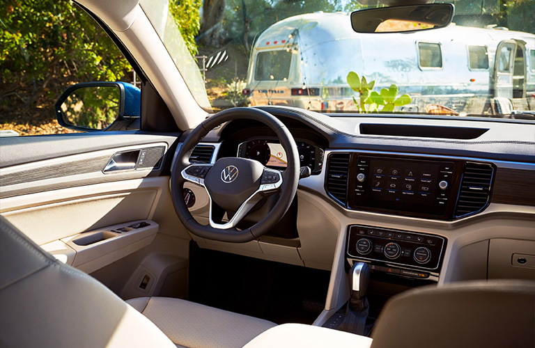 The front interior view of a 2021 Volkswagen Atlas