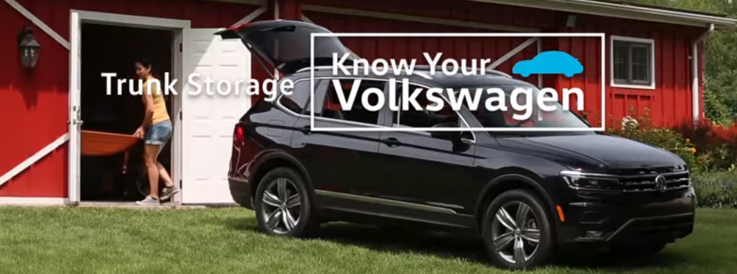 Trunk Storage Know Your Volkswagen Title and a Black 2018 VW Tiguan