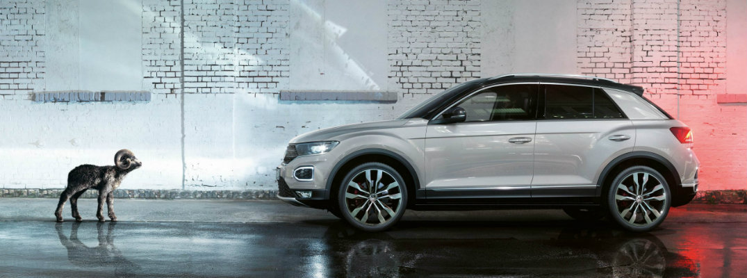 Volkswagen T-Roc in a rainy street with a baby ram