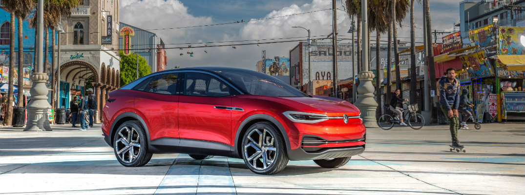 2020 Volkswagen I.D. Crozz electric compact SUV exterior shot parked in the middle of a tropical town
