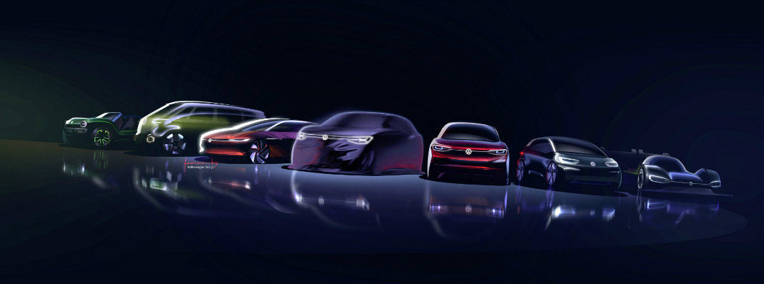 Volkswagen I.D. lineup featuring the Buggy, Buzz, Vizzion, Roomz, Crozz, I.D hatchback, and R models
