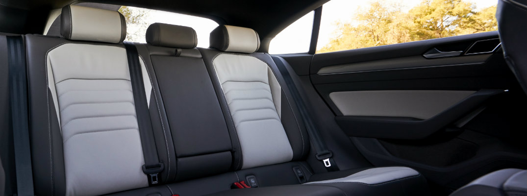 2019 Volkswagen Arteon interior shot of back row seating with titan black and moonrock leatherette upholstery