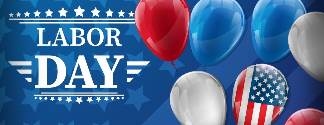 Labor Day header with red, white, and blue balloons and an American Flag balloon rising