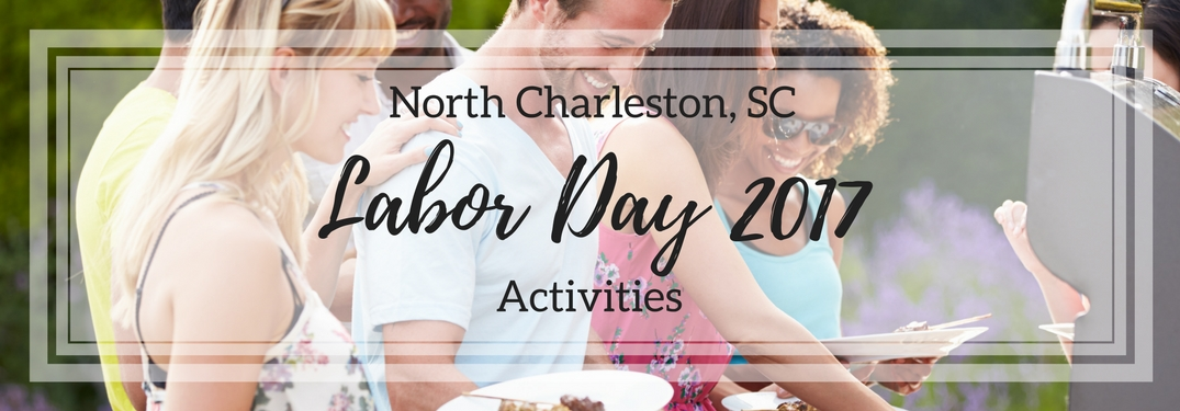 Smiling people around barbeque North Charleston Labor Day Activities 2017