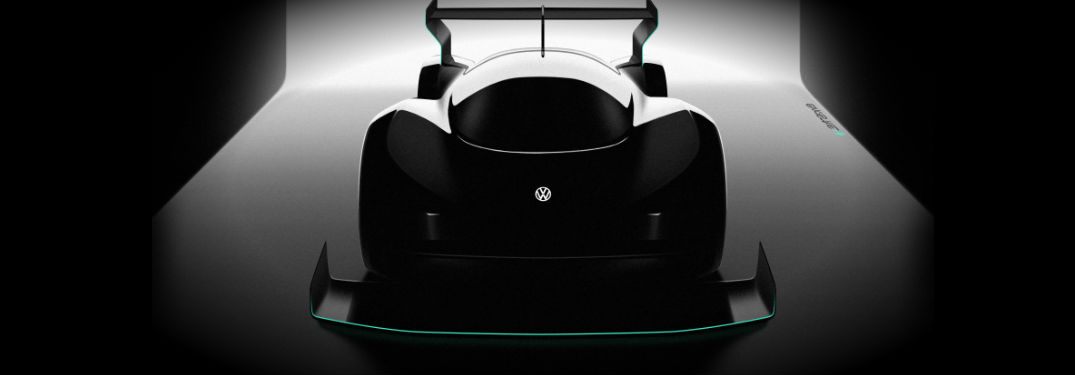 Volkswagen track-ready all-electric race car outline in shadows