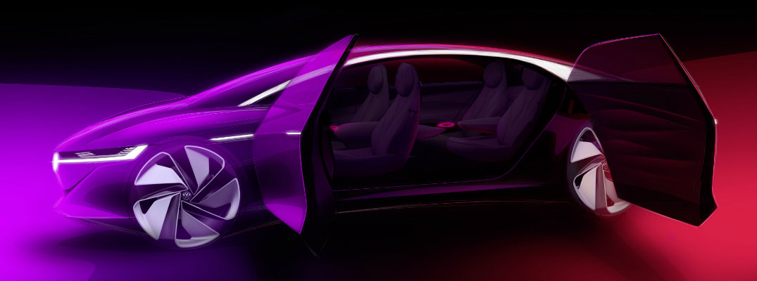 Volkswagen I.D. VIZZION electric concept car with doors open