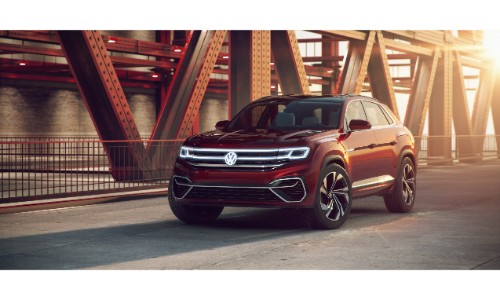 Volkswagen Atlas Cross Sport Concept SUV new york international auto show exterior front shot parked on a bridge at sunrise