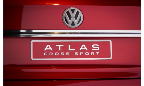 Volkswagen Atlas Cross Sport Concept SUV new york international auto show vw logo and model badge on red paint coating