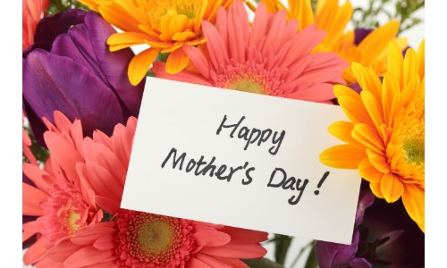 Happy Mothers Day Card Surrounded By Colorful Flowers Blog Image B Vw Of Kingston