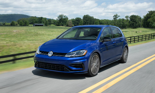 2018 Volkswagen Golf R Exterior Shot Blue Paint Job Driving Down A Country Fenced Road O Vw Of Kingston