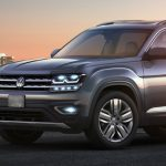 2018 VW Atlas at dusk city skyline