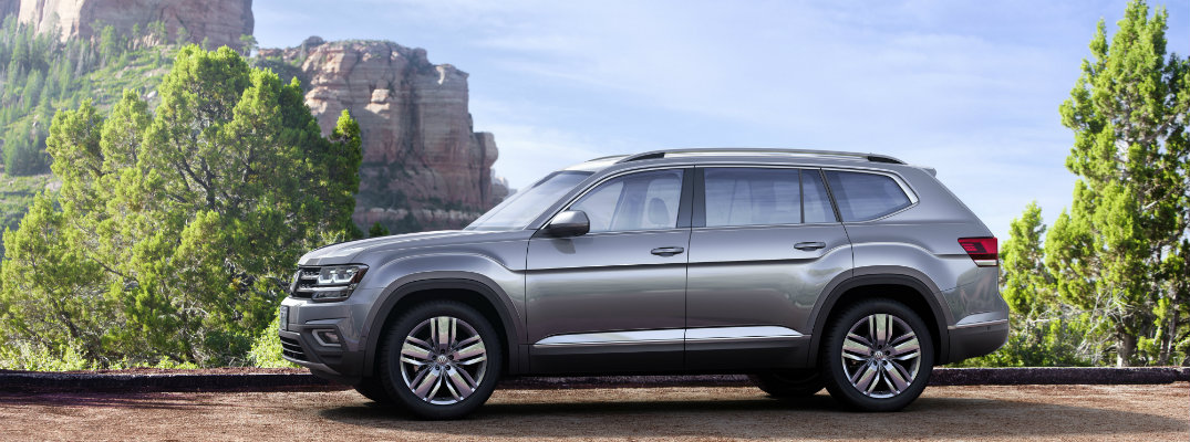 Gray 2018 Volkswagen Atlas with rock formation in background