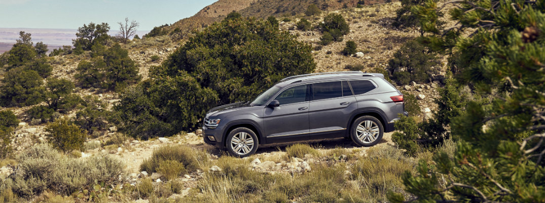 Gray-colored 2018 Volkswagen Atlas trekking in bushland terrain in western United States
