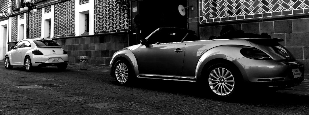 Black and white image of 2019 VW Beetle models