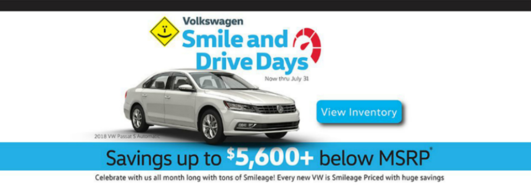 Volkswagen Smile and Drive Days Heading and a White 2018 VW Passat
