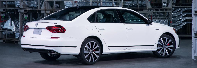 Rear View of White 2018 VW Passat GT