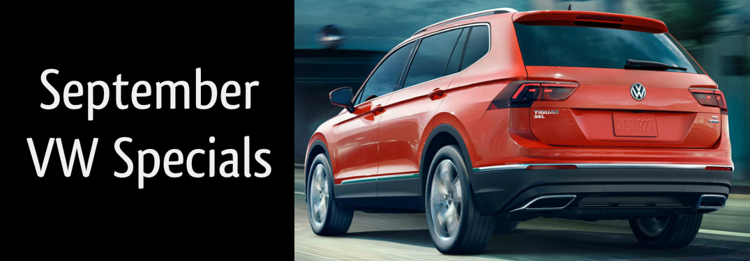 September VW Specials Title and an Orange 2018 VW Tiguan