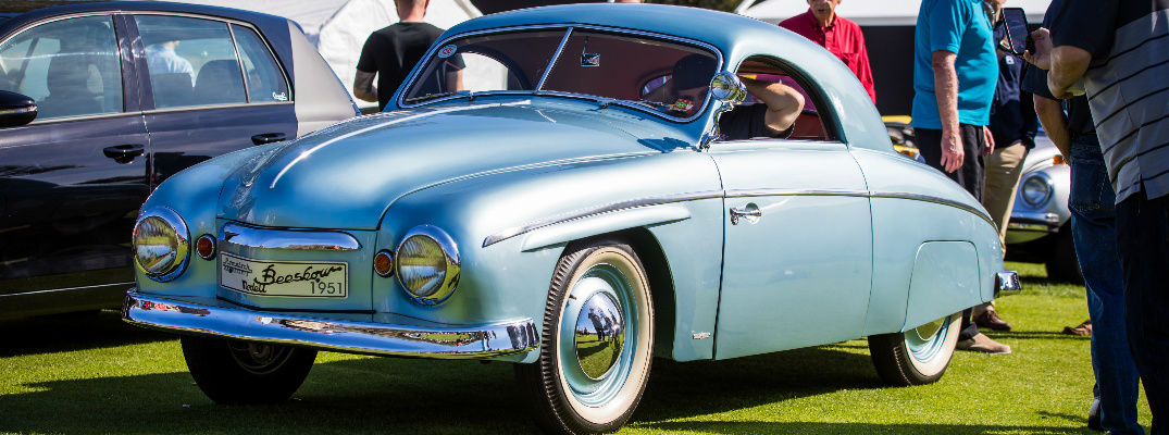 Blue 1951 Volkswagen Rometsch Beeskow at the Amelia Island Concours dElegance