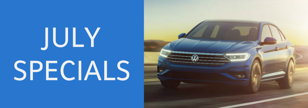 July Specials title and a blue 2019 Volkswagen Jetta