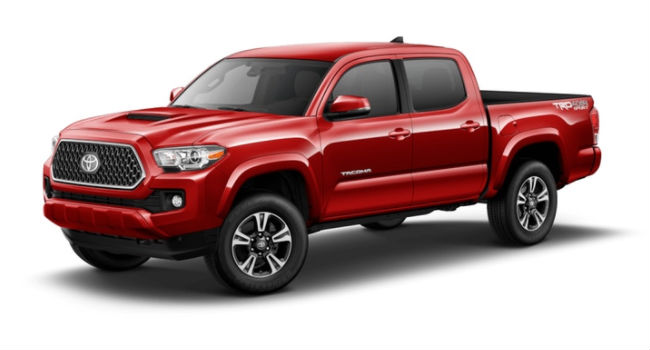 A front left quarter view of a Barcelona Red Metallic 2018 Tacoma