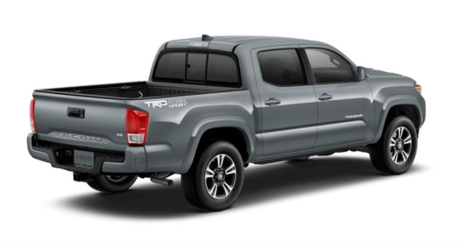 A rear right quarter view of a Cement 2018 Tacoma