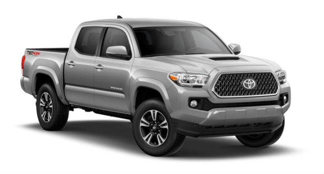 A front right quarter view of a Silver Sky Metallic 2018 Toyota Tacoma