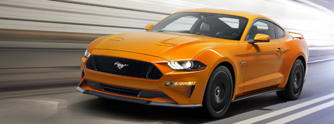 2018 Ford Mustang driving on a race track