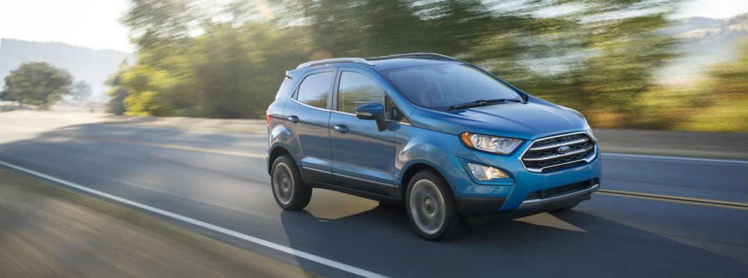 2018 Ford EcoSport in blue traveling down the road how much cargo space does the 2018 EcoSport have?