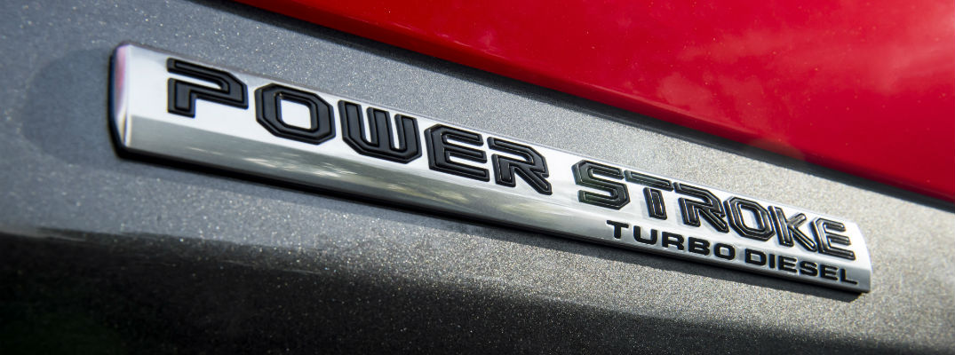 A close up photo of the power stroke badge found on diesel-powered versions of the 2018 Ford F-150