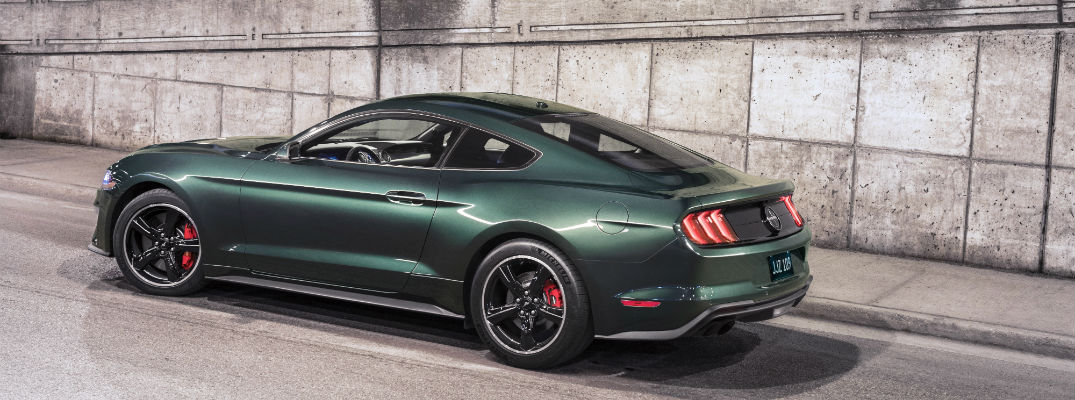 A photo of the new 2019 Bullitt Mustang in a parking structure