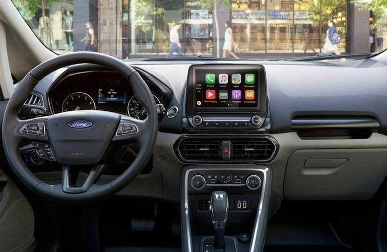 2018 Ford EcoSport interior dash and wheel view.