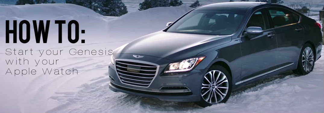 How do I start my 2015 Hyundai Genesis with the Blue Link Apple Watch app