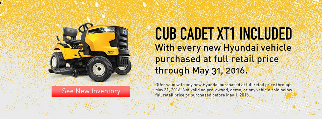 Free lawnmower with every new car purchase at Carolina Hyundai in May 2016