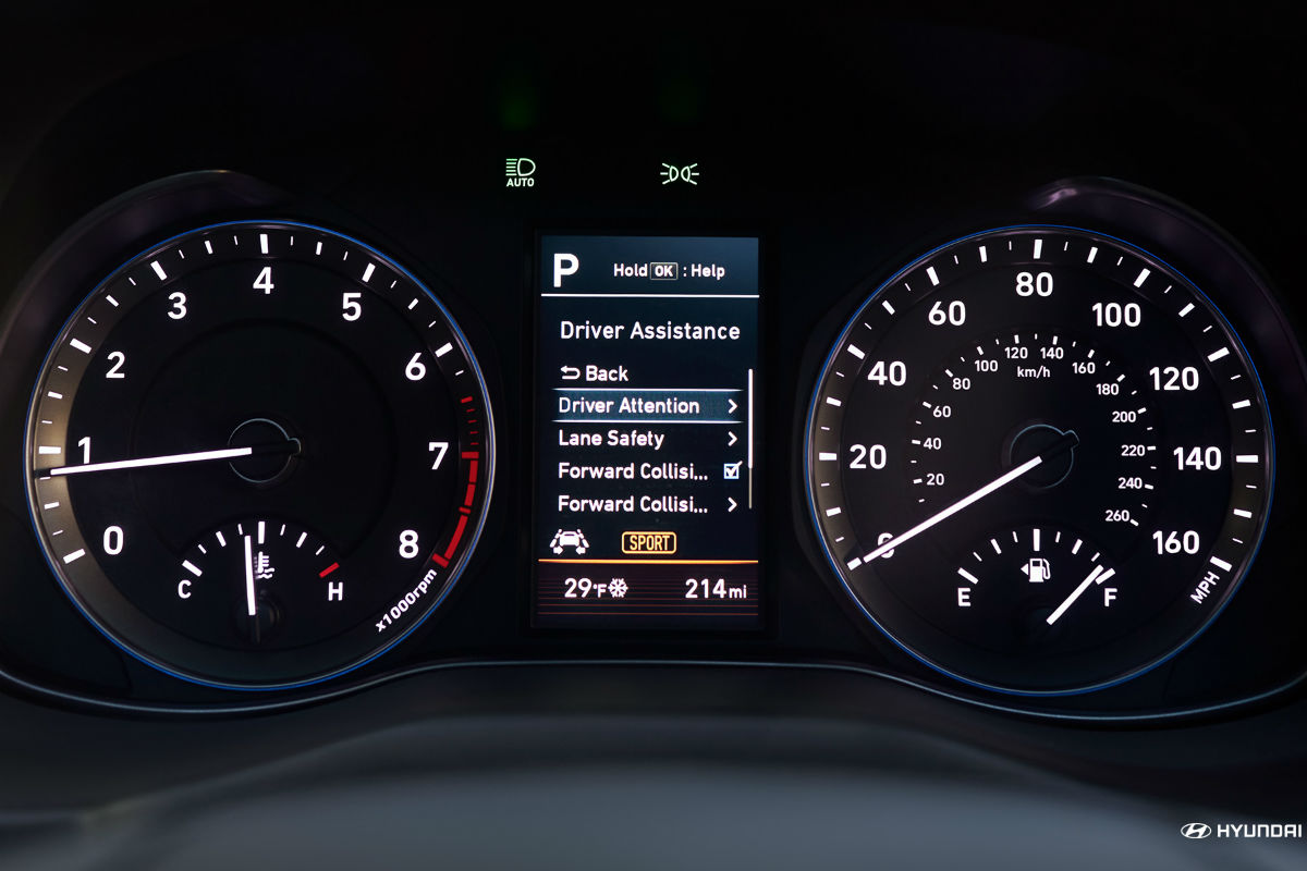 Instrument cluster and driver information center of the 2018 Hyundai Kona