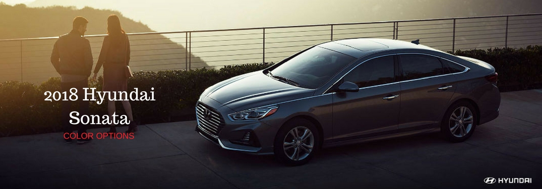 2018 Hyundai Sonata Color Options, text on a driver side exterior view of a gray 2018 Hyundai Sonata