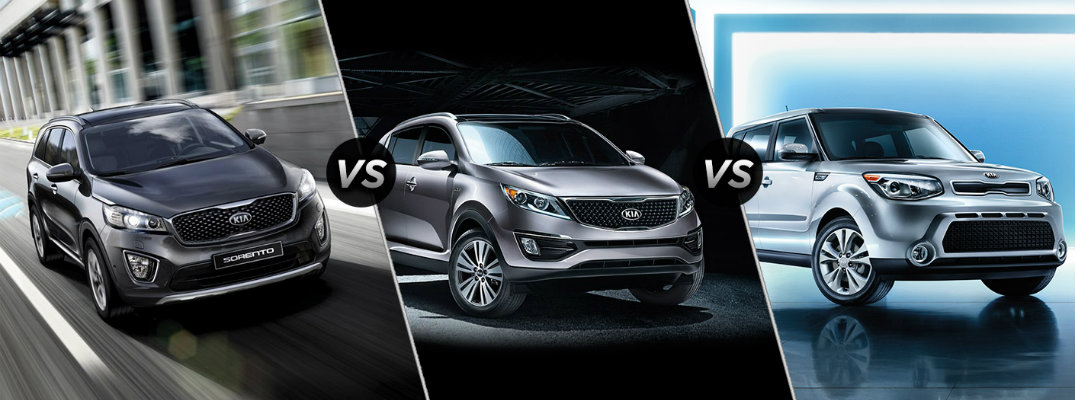 2016 Kia Soul, Sportage, and Sorento Size Differences