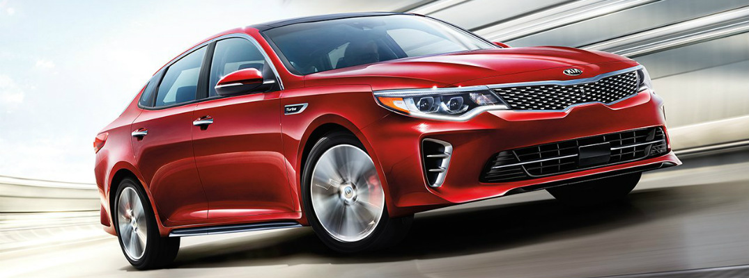 2017 Kia Optima turbo in red side view