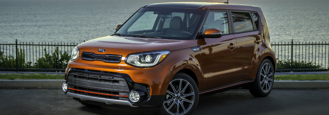2017 Kia Soul turbo orange at sunset