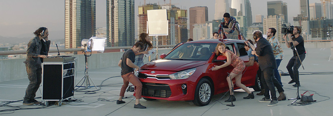 New Kia Rio commercial people making music out of a car