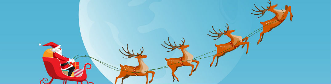 Cartoon image of Santa on his sleigh flying through the air with his reindeer