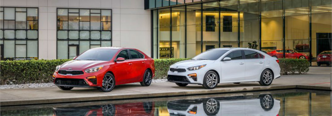 Driver's side exterior view of a red and a white 2019 Kia Forte