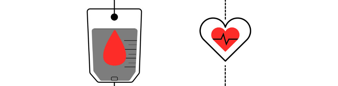 Cartoon image of a bag of donated blood on the left and a beating heart on the right