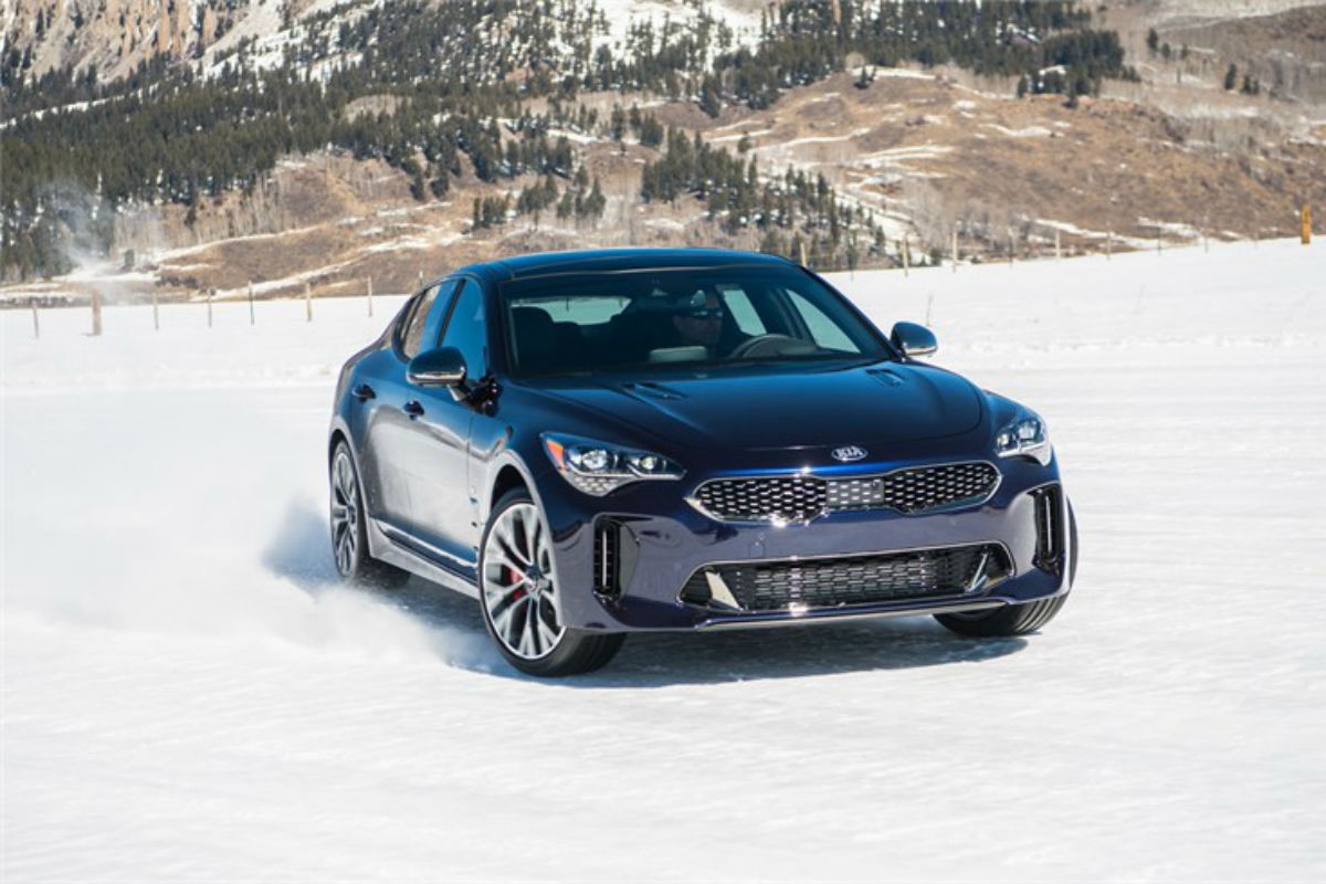 "Front exterior view of a blue 2019 Kia Stinger GT ""Atlantica"""